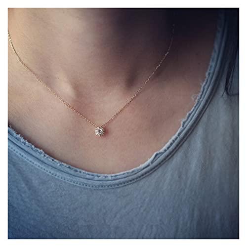 YHshop Collares y Pendientes 925 Plata esterlina Simple Diamante Oro pequeño Sol Collar Colgante Mujer luz Lujo Lujo Boda joyería Accesorios Collares Pendientes (Metal Color : Silver 45CM)