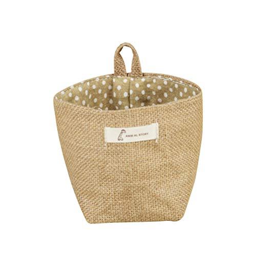 VORCOOL Sac de Plantation Pot de Fleurs, Tissu de Coton Petite Sacs à Suspendre à Rayures Jute Panier de Rangement de Plantes Sac de Rangement (Jaune Dot)