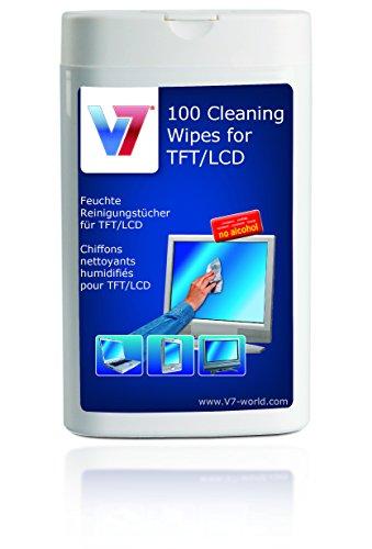 V7 Display Reinigungstücher in ovalem Spender (100 Stück) für Monitor, Notebook, Tablet PC, TV