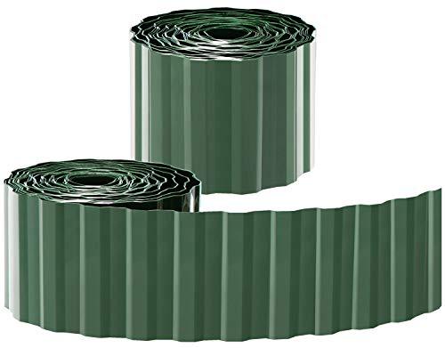 com-four® 2X Rasenkante aus Kunststoff - Beeteinfassung für Rasen, Blumenbeet oder als Mähkante - Länge individuell anpassbar