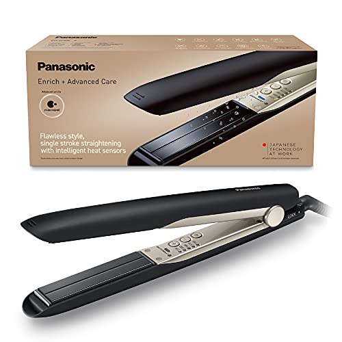 Panasonic EH-HS0E nanoe Hair Straightener for Flawless Style, Single Stroke Straightening with Advanced Smooth Gloss Ceramic Plate, Black/Champagne Gold