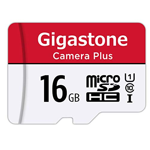 Gigastone 16GB Micro SD Card, Camera Plus 85MB/s, Full HD Video, U1 C10 Class 10 Micro SDHC UHS-I Memory Card, with MicroSD to SD adapter