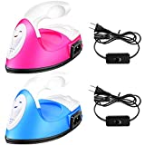 2 Pieces Mini Heat Press Transfer Machine Mini Electric Iron Heat Press Craft Iron Handy Mini Heat Transfer Vinyl Projects and Charging Base Accessories, Easy to Handle for DIY Clothes (Pink, Blue)