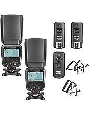 Neewer-Kit de Flash Speedlite NW-561 con Pantalla LCD para Canon, Nikon y otras cámaras DSLR, incluye 2 Flashes NW-561 + 1 Disparador inalámbrico 2.4 GHz (1 transmisor + 2 receptores)