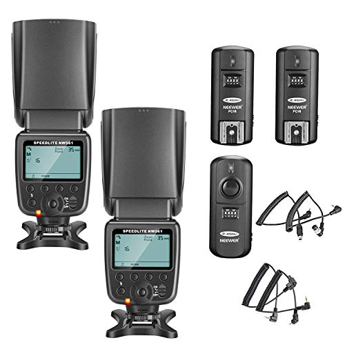 Neewer 2 Pacchetti Kit di NW561 LCD Display Speedlite Flash per Canon Nikon Panasonic Olympus Pentax Fijifilm e Sony con Mi Hot Shoe Camera con 2.4G Trigger Wireless (1 Trasmettitore e 2 Ricevitori)