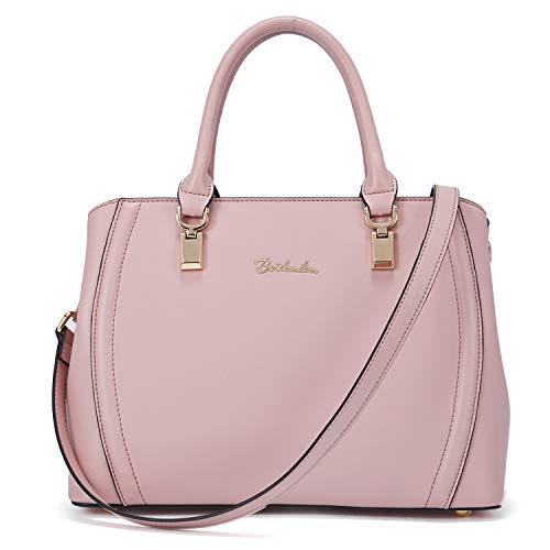 BOSTANTEN Damen Leder Handtasche Schultertasche Umhängetasche Elegante Henkeltasche Tote Bag Rosa
