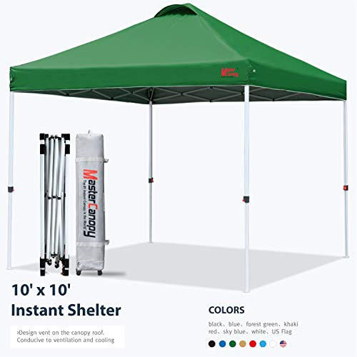 MASTERCANOPY Pop-up Canopy Tent Commercial Instant Canopy with Wheeled Bag,Canopy Sandbags x4,Tent Stakesx4(10'x10' Forest Green)