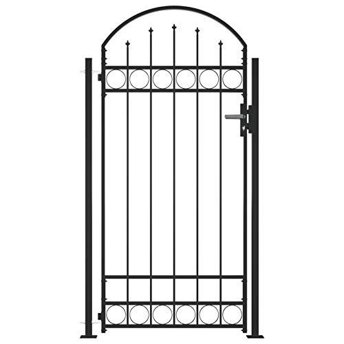 Lasamot Puerta de Valla con Arco y 2 Postes Negra Cercar Verja de Pared Puerta para Valla Jardín Traje de Puertas 100x200 cm