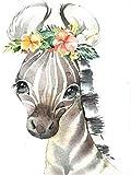 DGSJH 5D DIY pintura de diamante redonda completa de dibujos animados animales cebras, cabeza de diamante, bordado de mosaico, manualidades, set de decoración de habitación de los niños