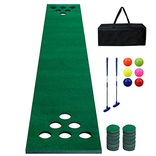 Golf Beer Pong Game Set Green Mat,Golf Putting Mat with 2 Putters, 6 Golf Balls,12 Golf Hole Covers for Indoor&Outdoor Short Game Office Party Backyard Use