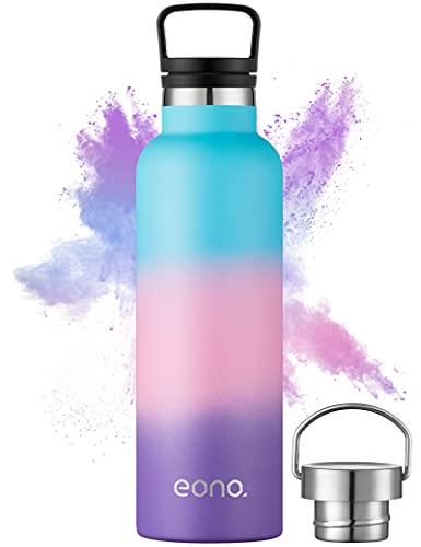 Amazon Brand - Eono Botella de Agua Isotérmica 750ml Reutilizable con Aislamiento al Vacío con Doble Pared de Acero Inoxidable,Pajilla y 3 Tapas,Sin BPA,Ideal para IR al Gimnasio,al Colegio,al Trabajo