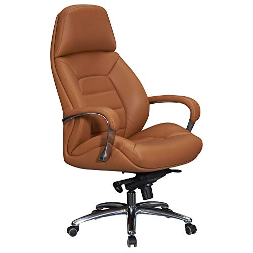 FineBuy Designer Bürostuhl Bezug Echtleder Caramel Schreibtischstuhl bis 120 kg | XXL Design Chefsessel höhenverstellbar | Drehstuhl ergonomisch mit Armlehnen & hoher Rückenlehne | Wippfunktion