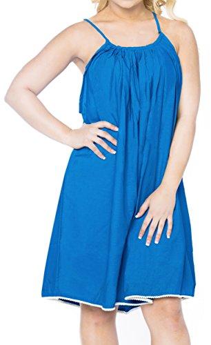 Traje de baño Cubrir hasta Vestido de Verano de baño Longitud Juego de la Playa de Las Mujeres del Traje de baño Azul de Rodilla