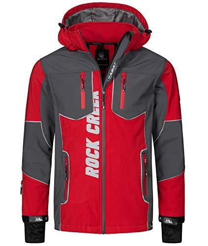Rock Creek Herren Softshell Jacke Outdoor Jacke Windbreaker Übergangsjacke Anorak Kapuze Regenjacke Winterjacke Herrenjacke Jacket H-237 Rot 4XL