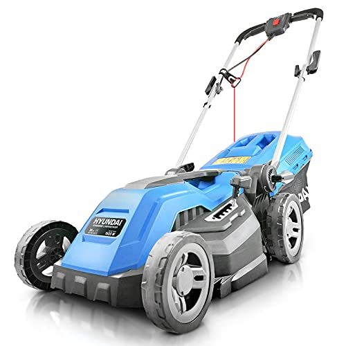 Hyundai 38cm Electric Lawn Mower, 1600W Corded Electric Lawnmower, Rolling & Mulching Lawn Mower, 40L Grass Bag, Corded Lawn Mower, Easy Storage, 3 Year Warranty, Mowers & Outdoor Power Tools, Blue