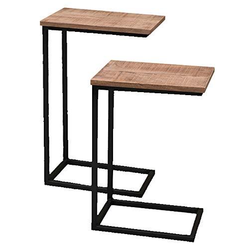 BRIX 2er Set Beistelltische Jordy Mangoholz Metall schwarz Sofatisch Couchtisch Tisch
