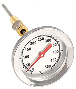 Lantelme - Termómetro de acero inoxidable de 500 °C, 15 cm, sonda con cono de latón para fijación en barbacoa, barbacoa, horno BBQ 7819