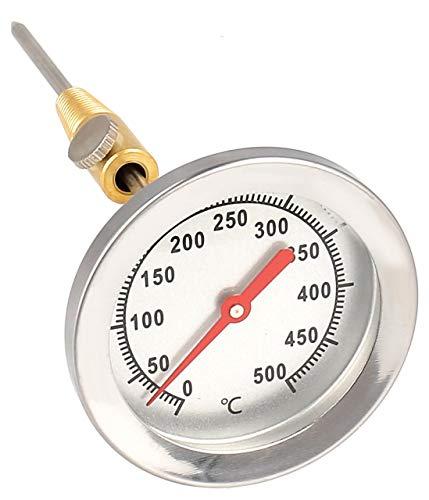 Lantelme, termometro in acciaio inox a 500 °C, sonda da da 15 cm, con cono in ottone per il fissaggio al barbecue a carrello, stufa BBQ 7819