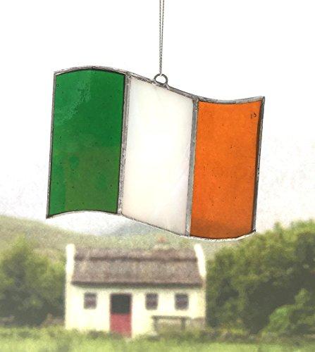 Irish Celtic Stained Glass Window Suncatcher (Tricolor Irish Flag, Green/White/Gold)