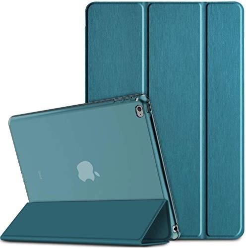 EasyAcc Hülle Kompatibel mit iPad Air 2, Ultra Dünn Transluzent Matt Rückseite Abdeckung mit Auto aufwachen/Schlaf Funktion Kompatibel mit iPad Air 2 A1566/A1567 (Pfauenblau)