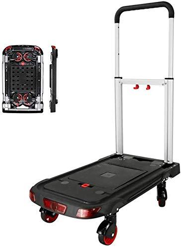 ZJZ Opvouwbare flatbed Platte trolley, Platform truck Huishoudelijke Stille trekker Kan dragen 90 kg