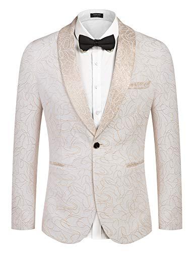 COOFANDY Men's Luxury Design Suit Jacket Fashion Blazer Tuxedo White