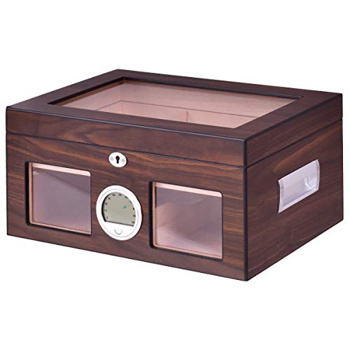 GJH One 50-100 Cigar Humidor Storage Box Lockable Desktop Glasstop Humidifier Hygrometer 15''×10.2''×7.1''