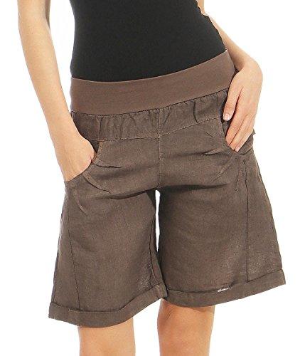 Malito Damen Bermuda aus Leinen | lässige Kurze Hose | Shorts für den Strand | Pants - Hotpants 3001 (Dunkelbraun, XL)