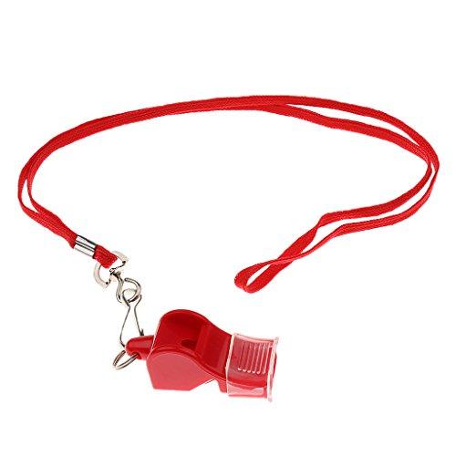 Sharplace Schiedsrichter Pfeife Trainerpfeife mit Schlüsselband für Fußball, Basketball, Schule, Notfall - Rot