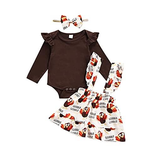 Traje de 3 Piezas para Bebé Niña, Mameluco de Manga Larga de Color Sólido a la Moda y Falda y Diadema con Estampado de Pavo (Marrón, 80)
