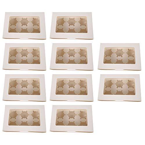 N/T 10 PCS Cupcake Boxen 6/4/2 Löcher Karton Cupcake Box Bulk Clear mit Einsätzen und Fensterverpackungsbox für Muffin Wedding Party Case Holder Box (6 Löche)