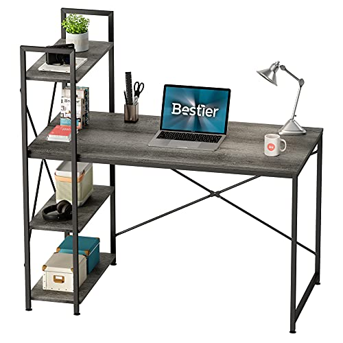 Bestier Computer Desk with Storage Shelves 47 Inch Home Office Desk Writing Study Table for Small Space, Gray