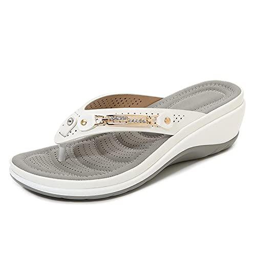 Sandalias de verano para mujer 2021, suela de goma de arco suave antideslizante para mujer, sandalias de playa de piel sintética con hebilla de metal para mujer al aire libre, 4 colores opcionales