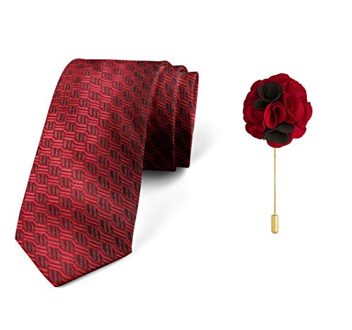 Axlon Men's Micro Polyester Necktie Set with Pocket Square and Brooch Pin (Red , Free Size)