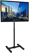 MOUNT-IT! TV Floor Stand for Flat, Curved, LCD, LED, and Plasma Screens [Fits 13 to 42] Tall Adjustable Height, Steel PC Monitor Mount, VESA Compatible 100 and 200, Indoor and Outdoor (Black)