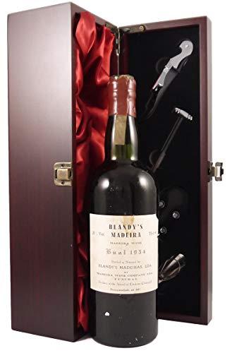 1954 Blandy's Bual Madeira en una caja de regalo forrada de seda con cuatro accesorios sacacorchos, vertedor de vino, tapón de goteo y termómetro de vino, 1 x 750ml