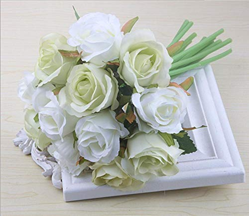 Artificial flower combination, DIY wedding bouquet, 12 artificial roses, used for home wedding porch curtain decoration-white and green