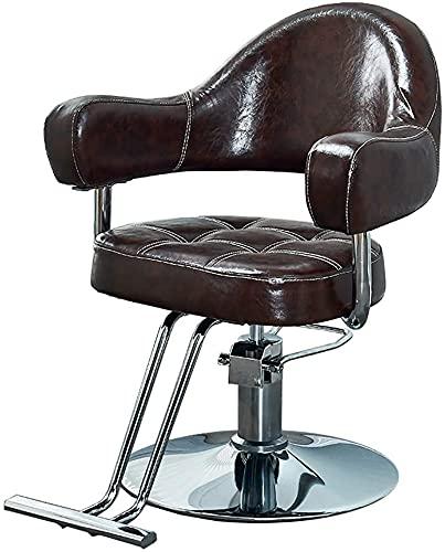 Silla de peluquero clásica, silla de salón profesional, barbero, corte de pelo/silla de belleza/altura ajustable hidráulica, negro (Color : Brown)