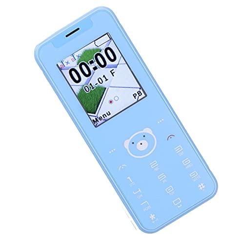 Mini teléfono móvil portátil, teléfono móvil con Pantalla de 1,77 Pulgadas, 32 MB + 32 MB, Doble Tarjeta de Doble Modo de Espera, Llamada de Emergencia SOS, teléfono móvil sin Juegos(Azul)