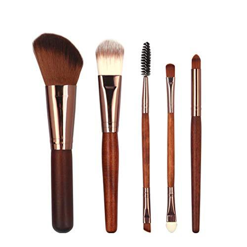 Maquillage Pinceaux, 5Pcs Double Terminé Fard À Paupières Fondation Sourcils Incliné Brush Cosmétique Outil Set - Cheveux Rouges Élégant et Populaire