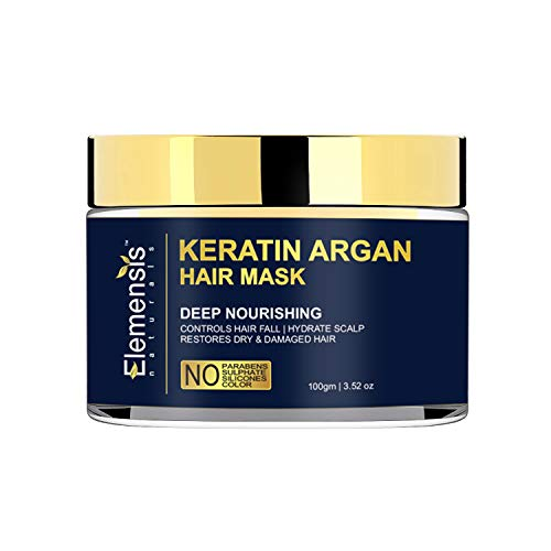 Elemensis Naturals Premium Keratin and Moroccan Argan Hair Mask for Natural Damage Repair, Deep Conditioning, Intense Moisturising, Repair of Dry Damaged Hair - 100gm