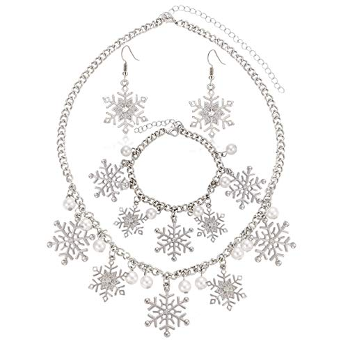 YINL Christmas Snowflake Necklace Bracelet Earrings Snowflake Charm Link Bracelet Austrian Crystal Snowflake Drop Dangle Earrings Christmas Snoflake Jewelry Set for Women Girls