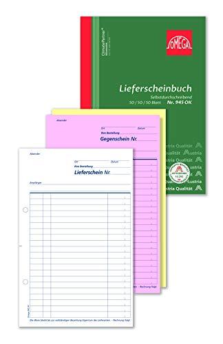 Omega Druck Lieferscheinbuch 945 OK, selbstdurchschreibend, A5 hoch, 3 x 50 Blatt, weiß/rosa/gelb