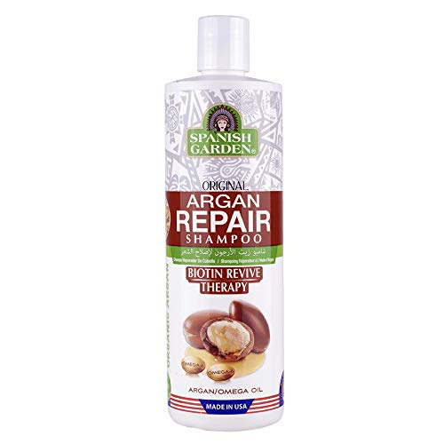 Spanish Garden Argan Repair Shampoo | Biotin Revive Therapy with Organic Oils, Natural Vitamins, and Herbal Extracts | For Frizzy & Coarse Hair, 16 oz