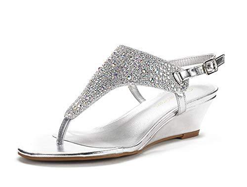 DREAM PAIRS Women's Aditi-New Silver Low Wedge Dress Sandals - 8 M US
