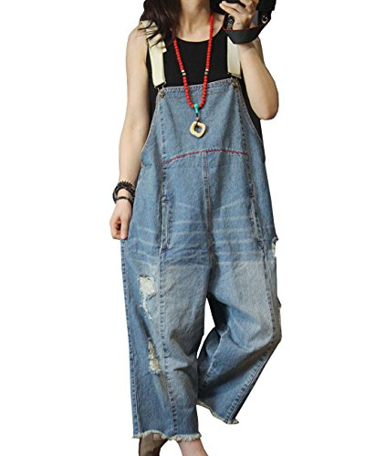 YESNO Women Casual Loose Cropped Denim Jumpsuits Rompers 90s Jeans Overalls Distressed Ripped Fringed/Pockets P49