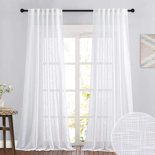 RYB HOME Linen Sheer Curtains for Living Room Textured Semi Sheer Curtains Large Window Treatment for Bedroom Patio Door, White, 52 inch Width x 108 inch Length, 2 Panels