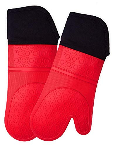 HOMWE Extra Long Professional Silicone Oven Mitt Oven Mitts with Quilted Liner Heat Resistant Pot Holders Flexible Oven Gloves Red 1 Pair 147 Inch