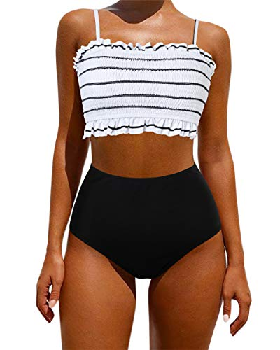 OMKAGI Women's Bandeau Bikini Sets Cute Shirred Swimsuit High Waisted Bathing Suit(M,58-Black White)