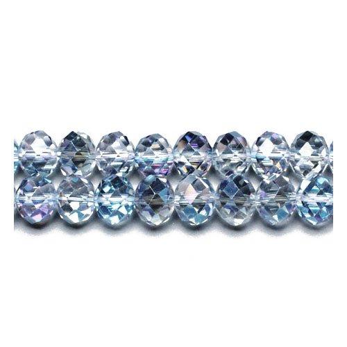 Charming Beads 70+ Blau/Klar Tschechische Kristall 6 x 8mm Facet Rondelle Perlen GC9592-3